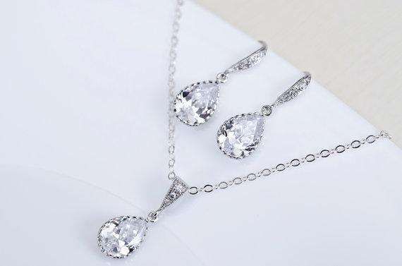 Bridal Earrings Necklace Clear White Cubic Zirconia Teardrops Jewelry Set