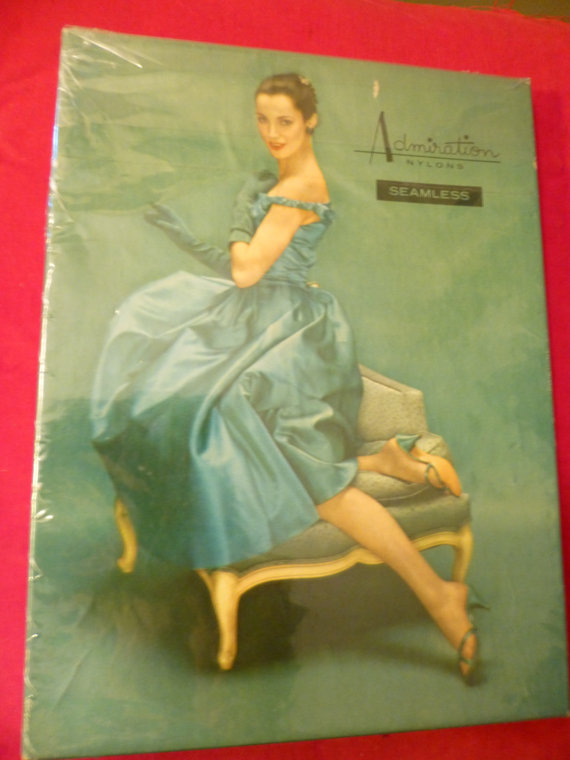 زفاف - Nylon Stockings Vintage Admiration Seamless White Beautiful Original Box