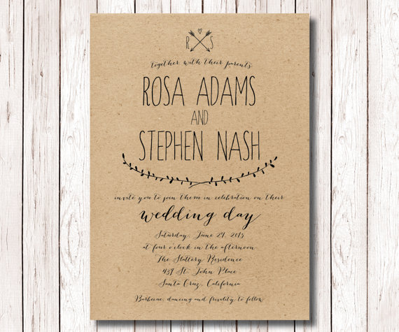 Rustic Wedding Invitation Kraft Paper Invitation Wedding