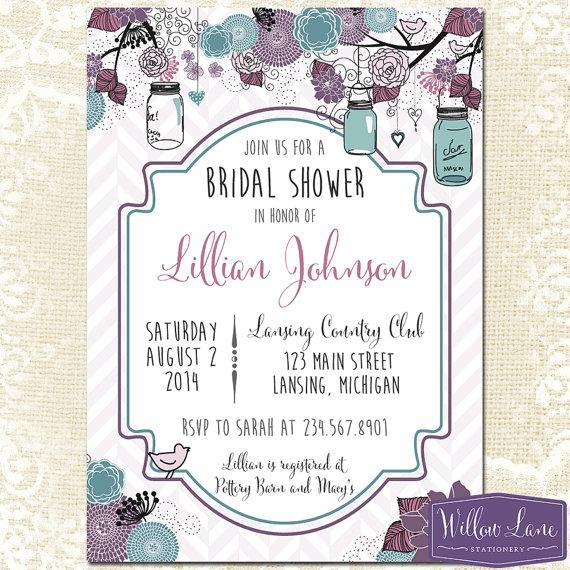 bridal shower invitation  mason jar bridal shower invitation, Bridal shower invitations