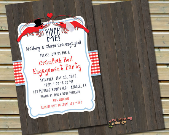 Crawfish Boil Engagement Party Or Wedding Shower Invitations With