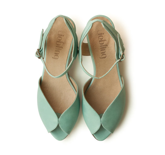 New! Mint Adelle Sandals, Handmade Leather Shoes, Green Shoes, Women ...
