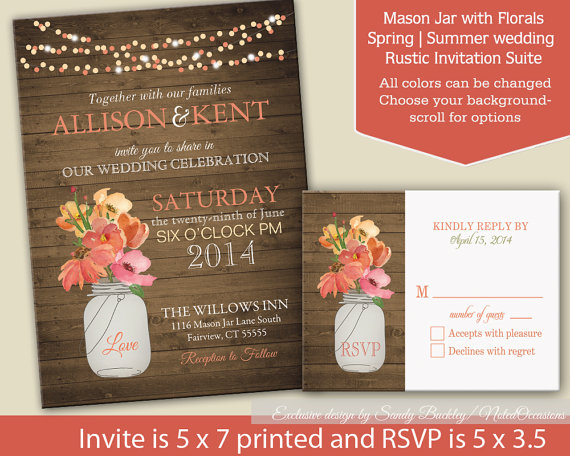 Rustic Mason Jar Coral Wedding Invitations With Dangling Lights