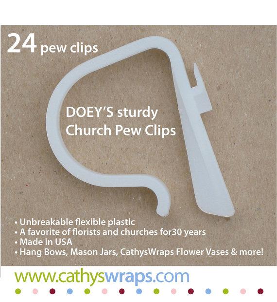 Hochzeit - 24 Wedding Pew Clips - Doey's Church Pew Clip hang 5lb. glass Mason jars, Cathyswraps vases, flowers, pom, pail, pew bow, vase, aisle marker