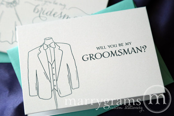 Mariage - Will You Be My Groomsman, Best Man, Wedding party... Bridal Party Tuxedo Suit Invitation Cards - Fun Way to Ask Groomsmen Cards (Set of 6)