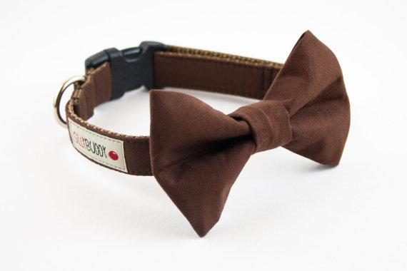 Свадьба - Solid Brown Wedding Dog Bowtie Collar