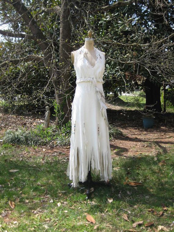 Свадьба - White Leather Wedding Dress Native American Inspired Sample Sale