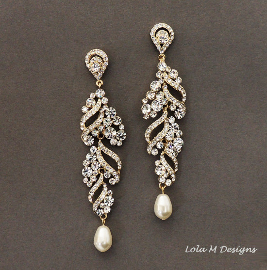 Elsa Gold Wedding Jewelry Bridal Earrings Rhinestone Dangle Crystal And Pearl Accessory