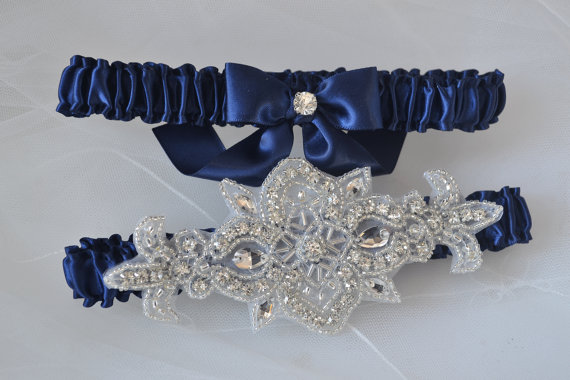 Mariage - Navy Blue Garters, Wedding Garter Set, Toss Garter, Keepsake Garter, Bridal Garter Set, Navy Garters, Heirloom Garter Set, Satin Garter Set