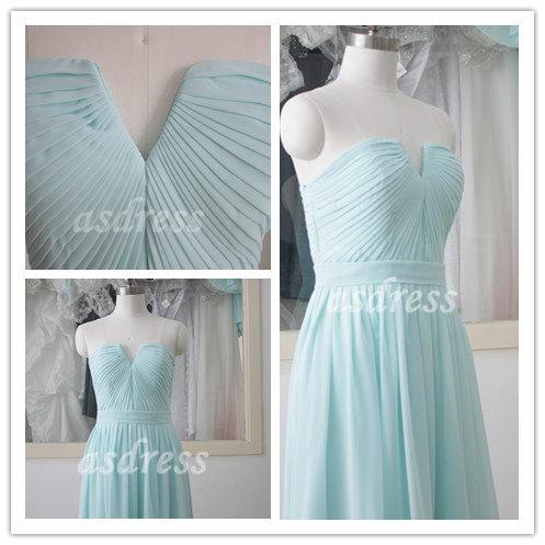 Mariage - High quality Light Blue Bridesmaid dress V-neck Prom Dress Chiffon Long Skirt Formal Prom Dress Brides maid Formal Dresses with Sash