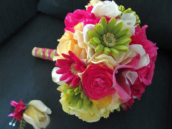 Wedding - Silk wedding bouquet in hot pink, green and yellow, roses, peonies, calla lillies, hydrangeas, ranuculus, bridal bouquets
