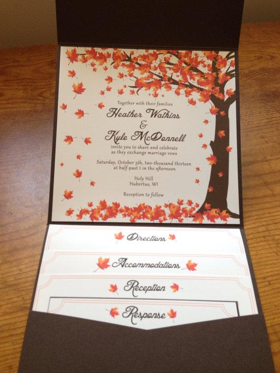 Düğün - Falling leaves Wedding Invitation Autumn