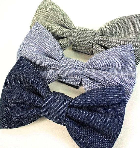 Свадьба - Chambray Dog Bow Tie, Chambray Cat Bow tie, Denim Dog Bow Tie, Denim Cat Bow Tie Grey Blue Bow Tie Wedding Bowtie