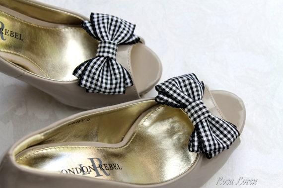 Wedding - Black Gingham Shoe Clip, Black & White Bow Shoe Clips, Black Retro Pin Up Girl Bow Clip Shoes