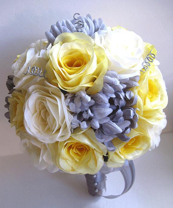 Свадьба - Wedding Bouquet Bridal Silk flower 17 piece Package YELLOW SILVER GRAY Cream Bridesmaid Maid of Honor Boutonnière Corsage Roses and Dreams