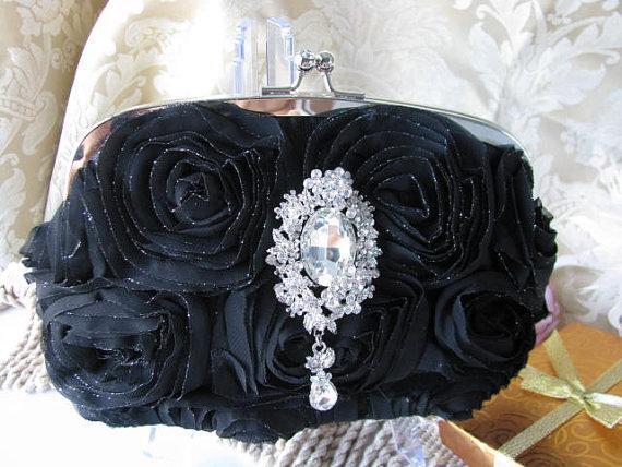 Свадьба - Black purses, bridal clutches, bride, bridesmaid, wedding, bridal hand bag, rhinestones brooch, bridal purse, wedding clutch, bridal handbag