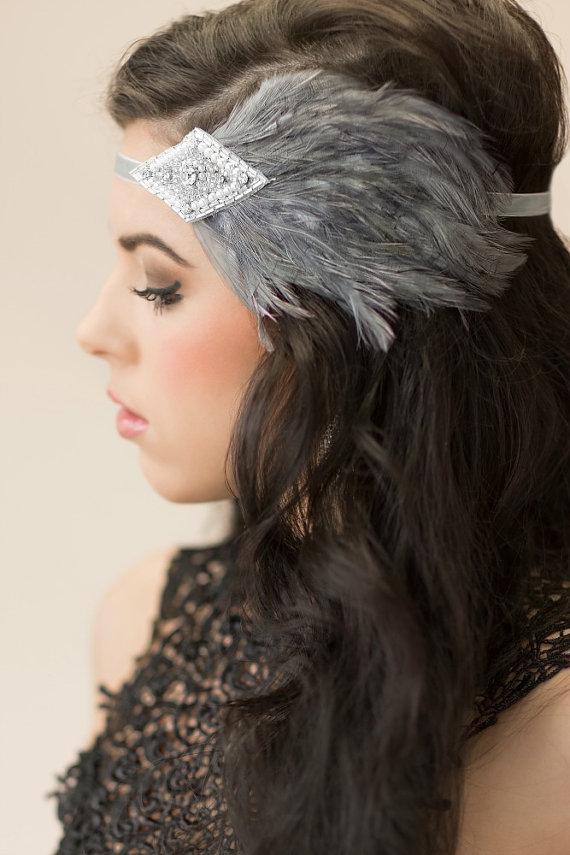 Wedding - Gray Flapper Headpiece, 1920s Headband, Silver Beaded Pearl and Rhinestone Headpiece, Wedding Bridal