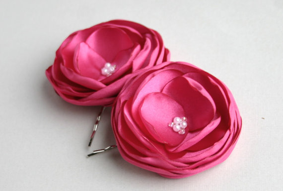 زفاف - Hot Pink Flower Hair Clips - Pink Bridesmaid Wedding Hair Accessory - Fuschia Fascinator