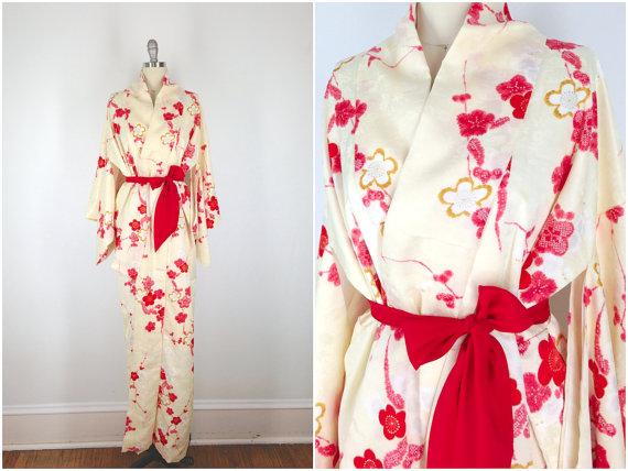 Düğün - Vintage Kimono / Silk Kimono Robe / Dressing Gown / Long Robe / Wedding Lingerie / Downton Abbey / Art Deco Kimono / Cherry Blossom Floral