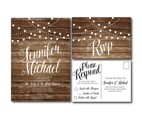Rustic Wedding Invitation Country Chic Fall Printable Rsvp Postcard File