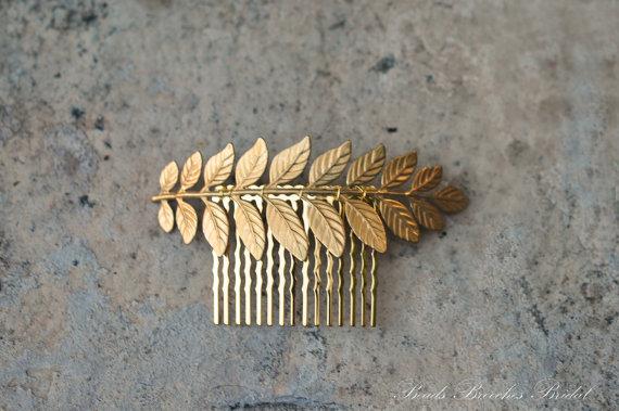 Wedding - Gold Brass Leaf Hair Comb, Wedding Hair Comb,Bridal Hair Comb,Wedding Hair Accessories,Laurel Gold Hair Comb, Hair Accessory,Gold Leaf