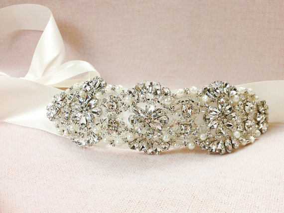 Свадьба - AMELIE - Bridal sash , Bridal belt , Crystal Wedding sash  - satin ribbon with crystal and rhinestone beaded applique sash, custom color