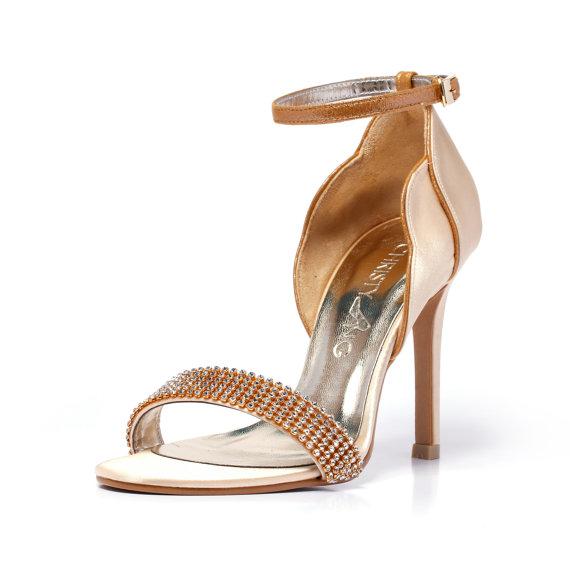 Свадьба - Anastasia, Champagne Gold Evening Shoe with Swarovski Elements, Evening High Heel Shoe, Evening Gold Wedding Shoe, Gold Bridal Shoe