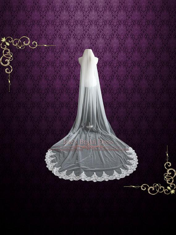 Свадьба - Cathedral Length Soft Tulle Wedding Veil with Laces at the End