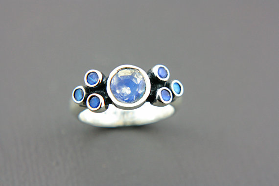 Mariage - Moonstone Engagement Ring Rainbow Moonstone Ring Moonstone Ring Sterling Silver Promise Ring June Birthstone