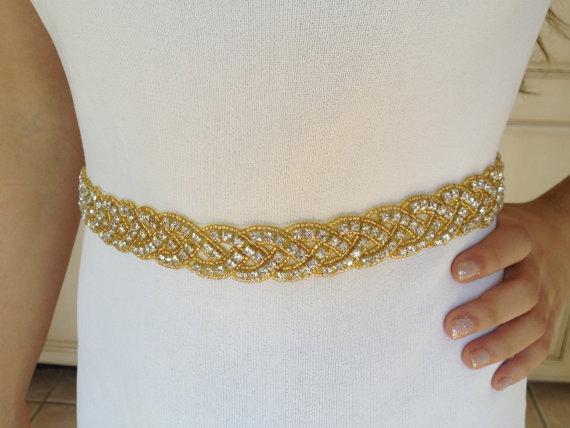 Свадьба - Gold Bridal Sash,Wedding Beaded Sash,Bridal  Gold Beaded Sash,Rhinestone Bridal Sash, Gold Crystal Sash, Beaded Bridal Sash,Bridal Sash