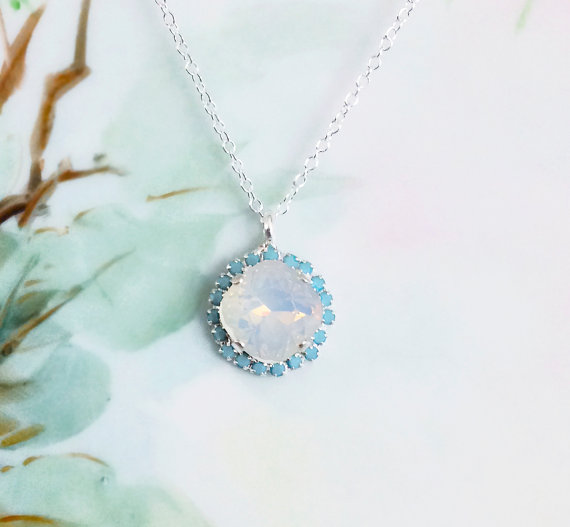 Hochzeit - White Opal Necklace, Turquoise Rhinestones and White Opal Crystal Jewel, October Birthstone Winter Wedding Prom Bridesmaid Statement Jewelry