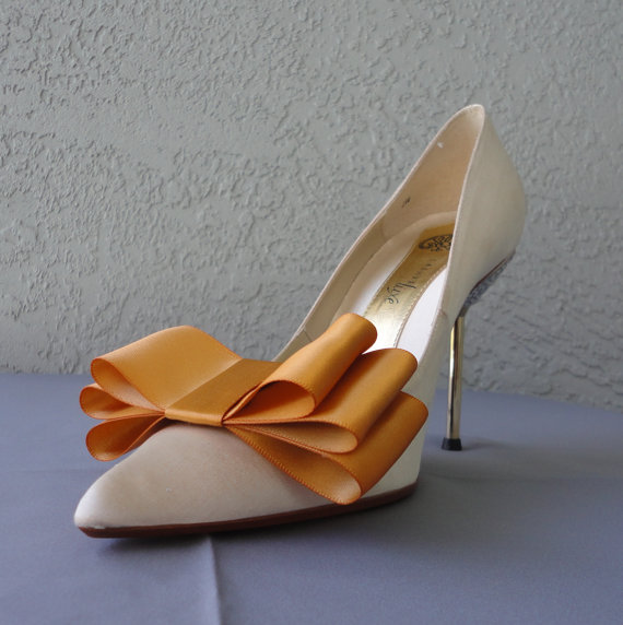Свадьба - Amber Satin Ribbon Bow Shoe Clips Set Of Two, More Colors Available