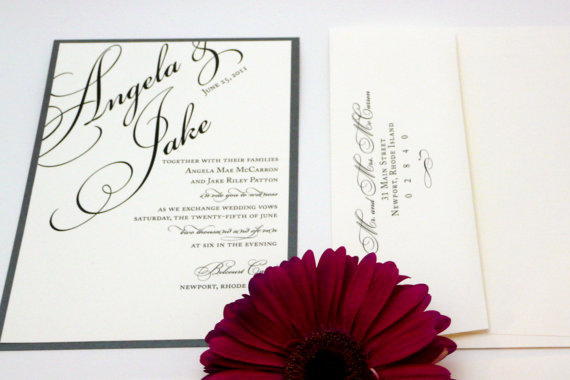 Wedding - Silver Wedding Invitation / Gray Script Invitations / Formal Invites / Layered Once Charmed Invite Sample
