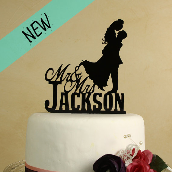 Mr And Mrs Wedding Cake Topper With Silhouette Couple Personalized ...
