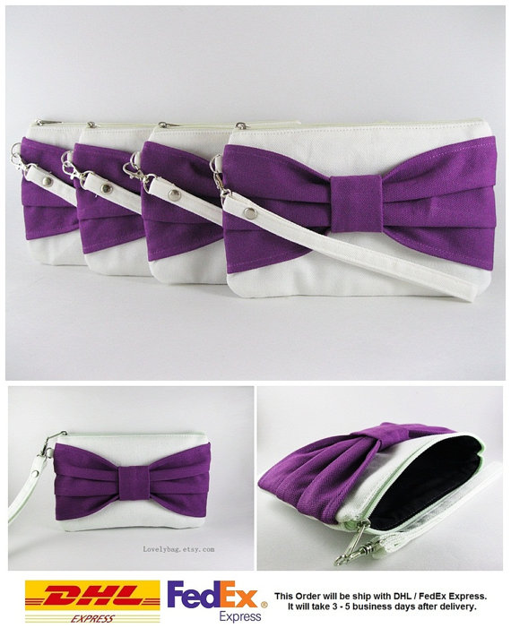 Wedding - SUPER SALE - Set of 7 Ivory with Eggplant Bow Clutches - Bridal Clutches, Bridesmaid Wristlet, Wedding Gift, Zipper Pouch - Made To Order