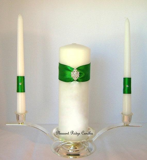 Mariage - Green Unity Candle Wedding Candle Rhinestone Unity Candle Bling Unity Candle Wedding Unity Candle Unity Cheap Unity Candle Wedding Candle