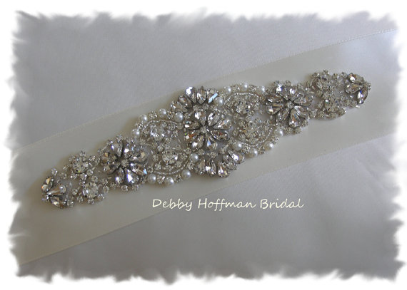 Mariage - Sale ~ Rhinestone Crystal Pearl Bridal Sash, Pearl Rhinestone Wedding Sash, No. 4060S2.25, Wedding Accessories, Jeweled Pearl Belt, Sash