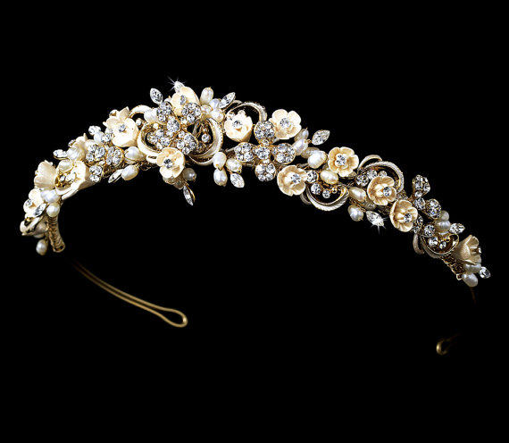 Wedding - Gold Wedding headpiece, Floral Bridal headband, Vintage style headband, Bridal tiara, Rhinestone headpiece, Gold hair accessory