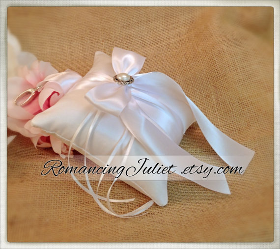 Mariage - Elite Satin Pet Ring Bearer Pillow with Lovely Pearl Accent...Made in your custom wedding colors...show in white/white