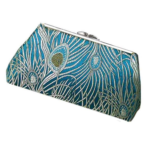 Mariage - Teal Purse Peacock Feather Fabric Clutch Handbag Wedding Bridesmaid Bride Perfect Gift