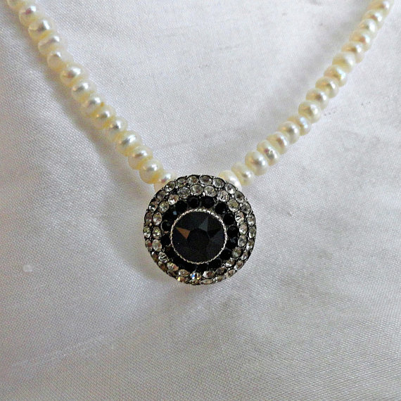 Mariage - French Necklace 800 Silver Paste Button Cover Pearls Vintage