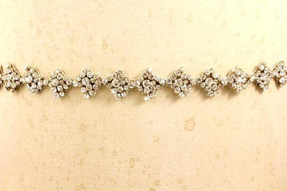 Wedding - Beaded Gold Wedding Belt Bridal Sash- Dainty Thin Rhinestone Antique Crystal Embellished Ornate Art Deco Trim Camilla Christine MIRANDA