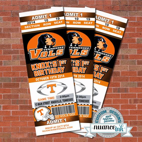 Tennessee Volunteers Vols Ticket Style Birthday Party Or Baby – Ticket Style Birthday Invitations
