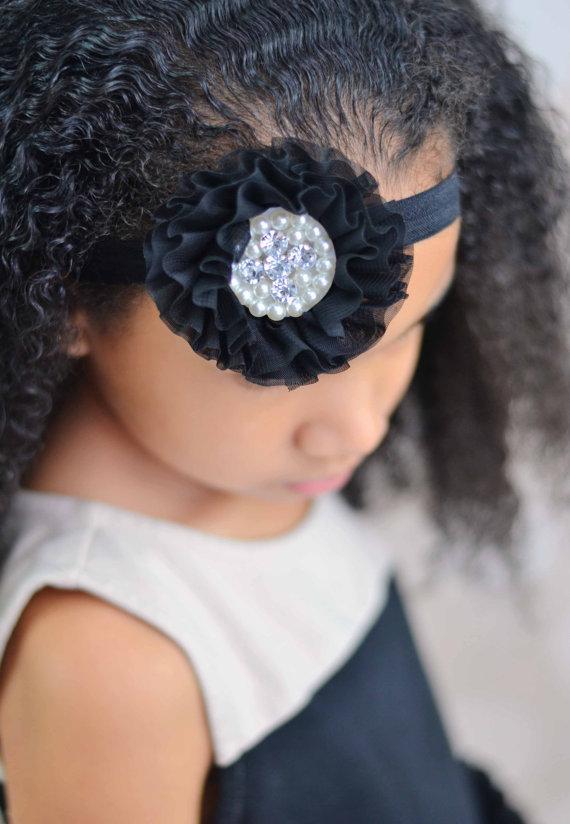 Wedding - Baby Headband Black Chiffon Pearl Rhinestone  - Gift or Photo Prop - Newborn Infant Toddler Girl Adult Flower Girl Wedding Flowergirl