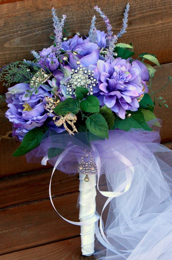 Wedding - Purple Woodland Brooch Bouquet