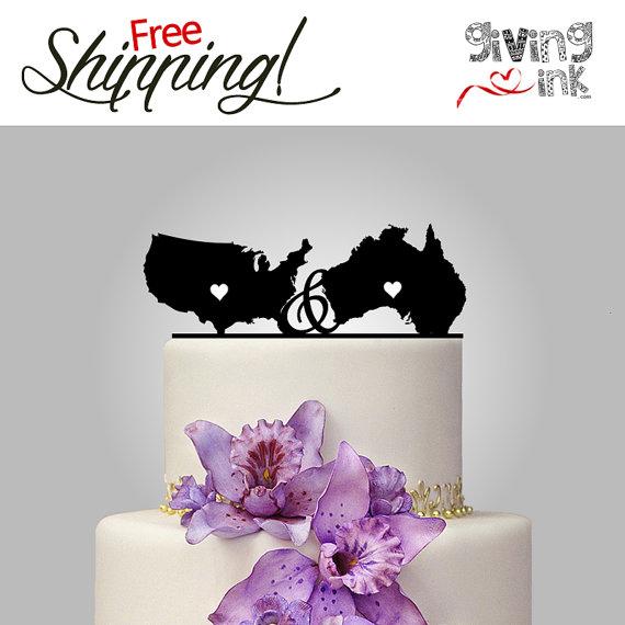 United States Australia Cake Topper Usa Wedding Cake Topper