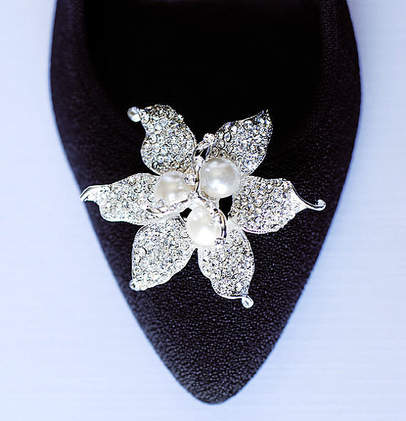 Wedding - Bridal Shoe Clips Pearl Crystal Rhinestone Shoe Clips Wedding Party (Set of 2) SC038LX