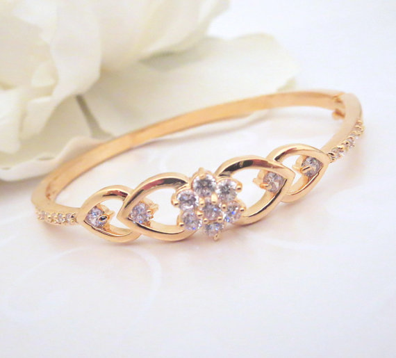 Rose Gold Bridal Bracelet Bangle Wedding Jewelry Crystal Simple