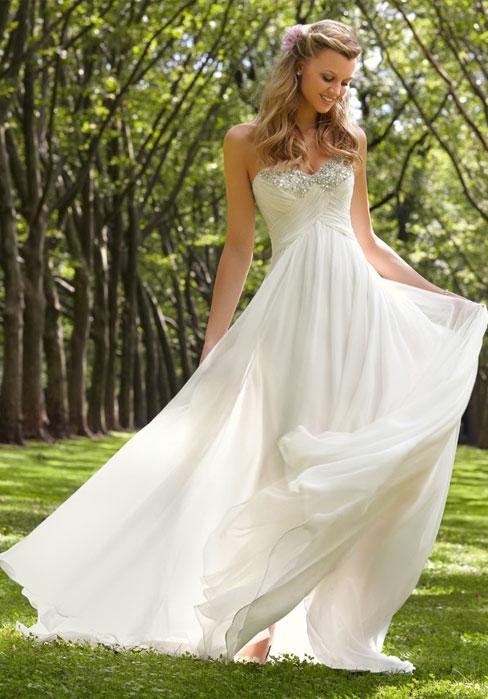 Wedding - Chiffon Bateau Empire Criss Cross Crystals Wedding Dress
