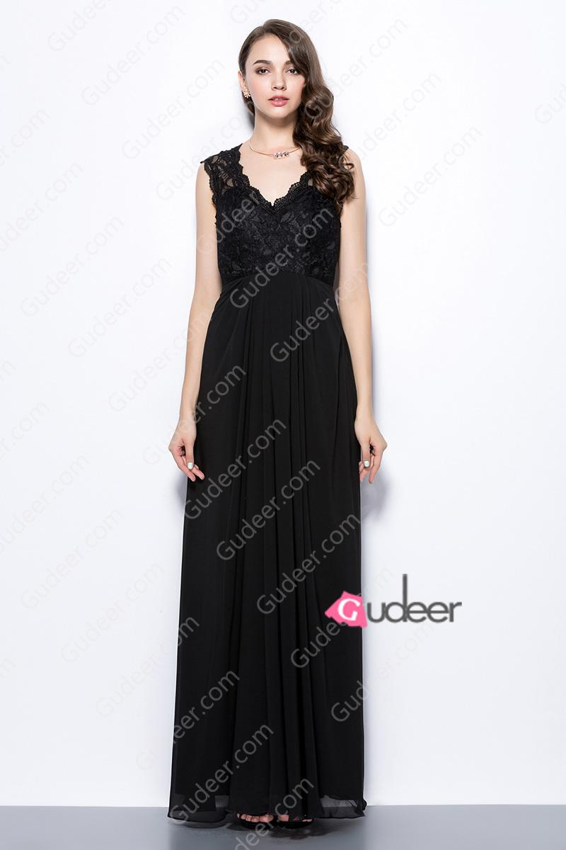 Hochzeit - Black V Neck Lace and Chiffon Bridesmaid Dress